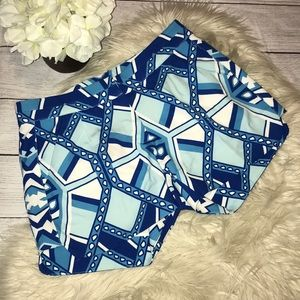 Annie Griffin Blue Geometric Print Shorts